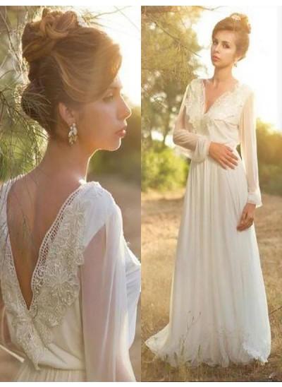 Forme Princesse Col V Balayage/Pinceau traîne Manches longues Mousseline de soie Robe de mariée avec Dentelle
