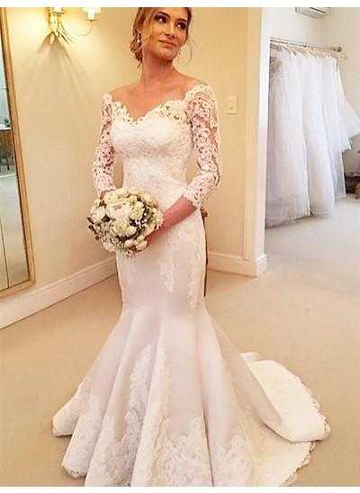 Forme Sirène/Trompette Hors-la-épaule Traîne moyenne Manches 3/4 Satiné Robe de mariée