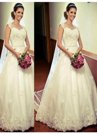 Robe Marquise Amoureux Longueur ras du sol Sans manches Tulle Robe de mariée