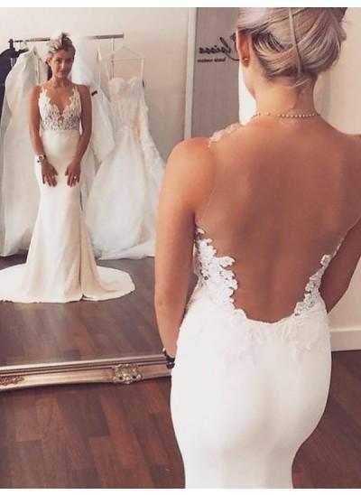 Forme Sirène/Trompette Col rond Traîne moyenne Sans manches Satiné Robe de mariée avec Appliqués