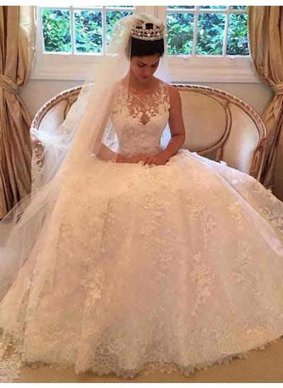 Forme Princesse Col rond Traîne moyenne Sans manches Dentelle Robe de mariée avec Appliqués