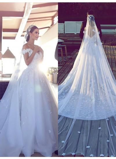 Robe Marquise Col V Traîne mi-longue Sans manches Satiné Mousseline de soie Robe de mariée