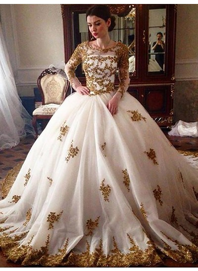 Robe Marquise Col rond Traîne moyenne Manches longues Tulle Robe de mariée
