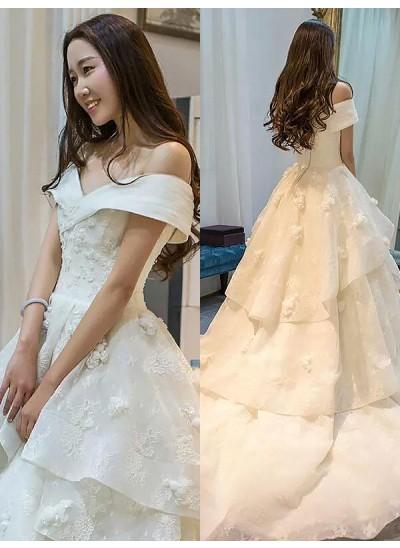 Robe Marquise Hors-la-épaule Traîne moyenne Sans manches Tulle Robe de mariée