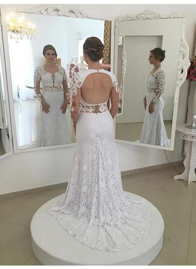 Forme Fourreau Col rond Balayage/Pinceau traîne Manches longues Dentelle Robe de mariée