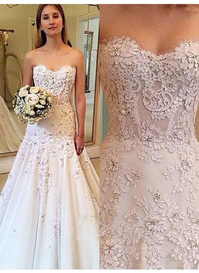 Forme Princesse Amoureux Traîne moyenne Sans manches Robe de mariée
