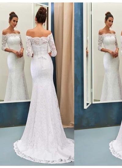 Forme Sirène/Trompette Hors-la-épaule Balayage/Pinceau traîne Manches longues Robe de mariée