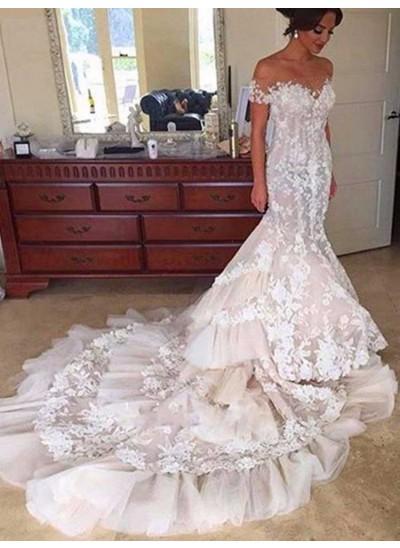 Forme Sirène/Trompette Hors-la-épaule Traîne mi-longue Manches courtes Tulle Robe de mariée