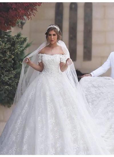 Robe Marquise Hors-la-épaule Traîne moyenne Manches courtes Tulle Robe de mariée