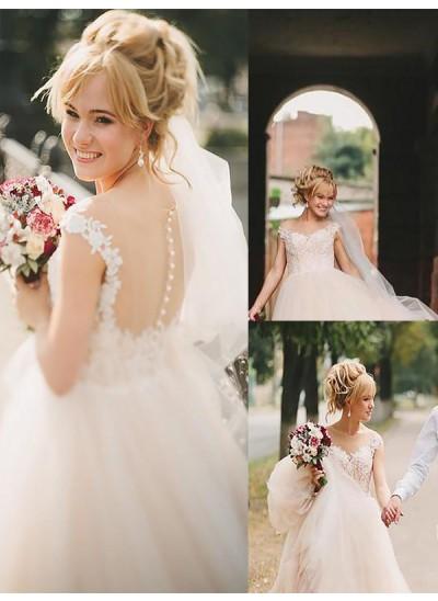 Forme Princesse Col rond Traîne moyenne Sans manches Tulle Robe de mariée
