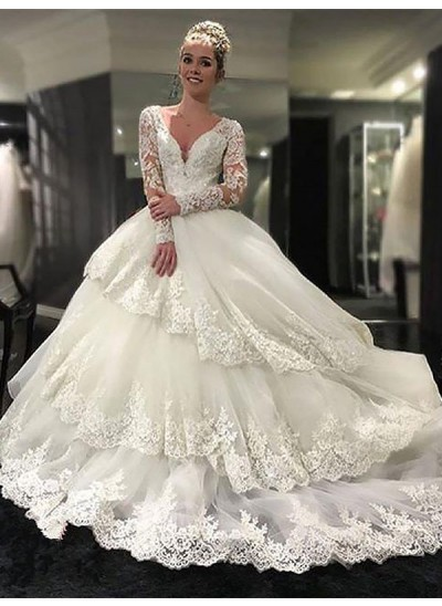 Robe Marquise Col V Traîne moyenne Manches longues Tulle Robe de mariée