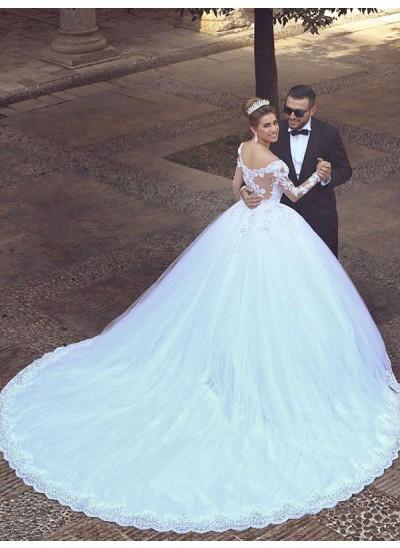 Robe Marquise Hors-la-épaule Traîne moyenne Manches longues Tulle Robe de mariée