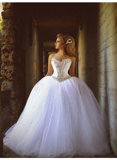 Robe Marquise Amoureux Traîne moyenne Sans manches Tulle Robe de mariée