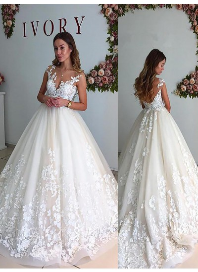 Forme Princesse Col V Traîne moyenne Sans manches Tulle Robe de mariée