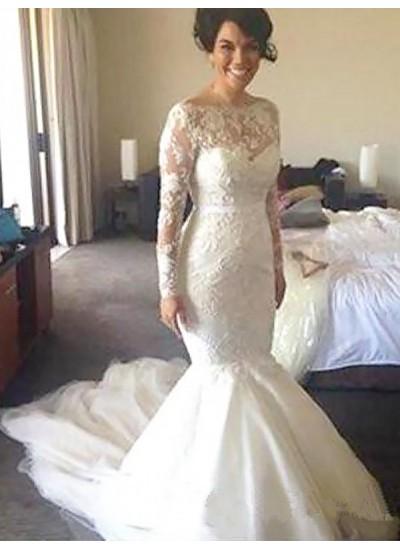 Forme Princesse Col bateau Traîne moyenne Manches longues Tulle Robe de mariée