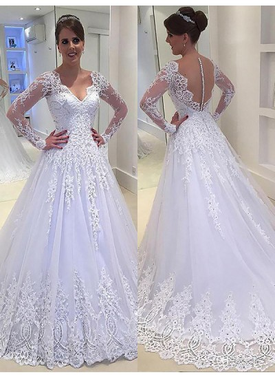 Forme Princesse Col V Traîne moyenne Manches longues Tulle Robe de mariée avec Appliqués