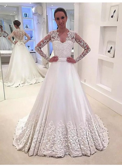 Forme Princesse Col V Balayage/Pinceau traîne Manches longues Satiné Robe de mariée