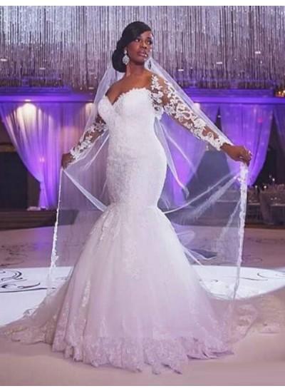 Forme Sirène/Trompette Amoureux Balayage/Pinceau traîne Manches longues Tulle Robe de mariée avec Appliqués