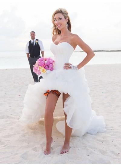 Forme Princesse Amoureux Asymétrique Sans manches Organza Beach Robe de mariée