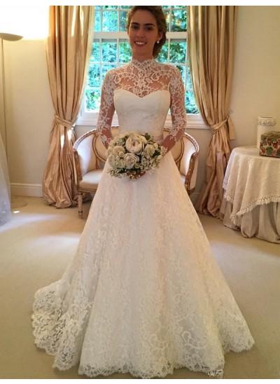 Robe Marquise Col haut Traîne moyenne Manches longues Dentelle Robe de mariée avec Dentelle