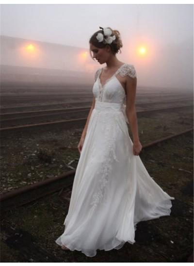 Forme Princesse Col V Longueur ras du sol Sans manches Mousseline de soie Robe de mariée avec Dentelle
