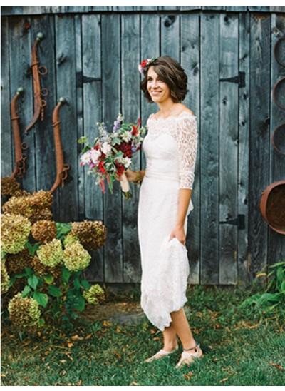 Forme Fourreau Hors-la-épaule Balayage/Pinceau traîne Manches 3/4 Robe de mariée avec Bowknot