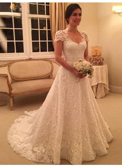 Forme Princesse Amoureux Traîne moyenne Manches courtes Robe de mariée avec Dentelle