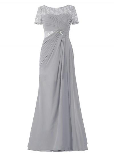 Forme Princesse Col rond Manches courtes Mousseline de soie Longueur ras du sol Robe mère de la mariée avec Illusion