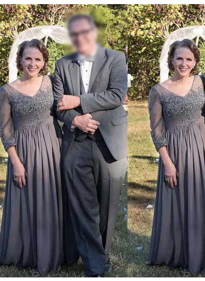 Forme Princesse Col V Manches 3/4 Longueur ras du sol Mousseline de soie Robe mère de la mariéees avec Appliqués